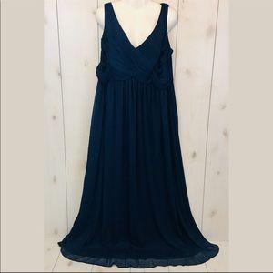 David's Bridal Blue Full Length Formal Gown Dress
